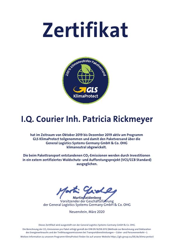 Zertifikat KlimaProtect